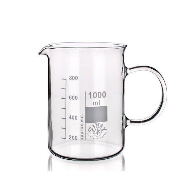 Ildfast målebæger i glas 1000 ml. med håndtag