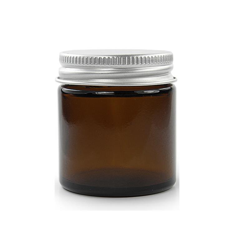 120 ml. brun glas krukke m aluminium låg