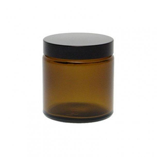 120 ml. brun glas bøtte m. sort låg