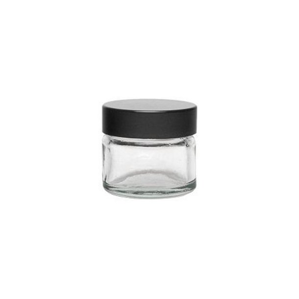 15 ml. klar glas bøtte m. sort låg