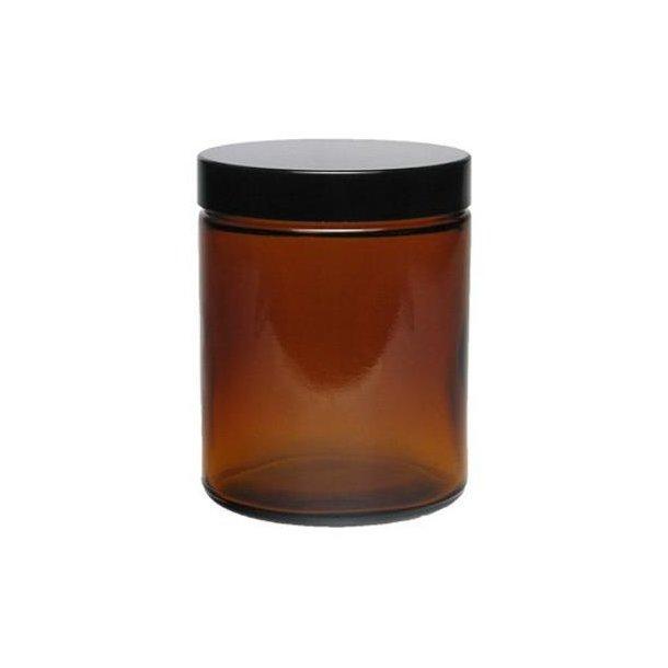 180 ml. brun glas bøtte m. sort låg