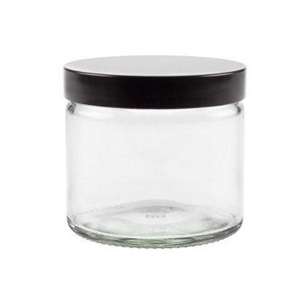 250 ml. klar glas bøtte m. sort låg