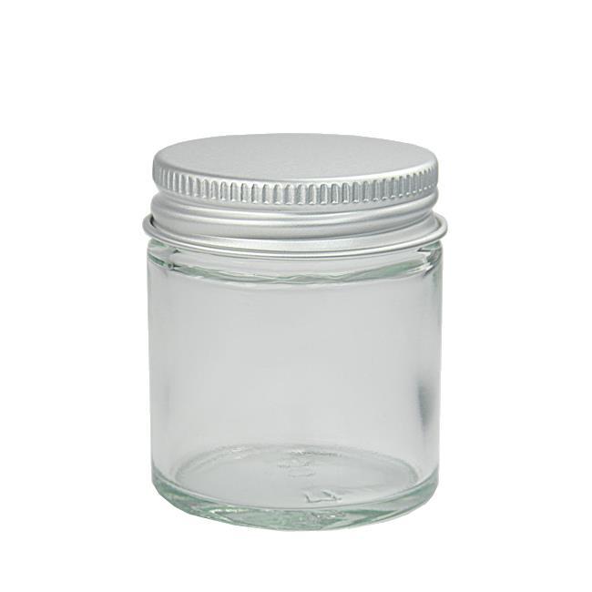 30 ml. klar glaskrukke m aluminium låg