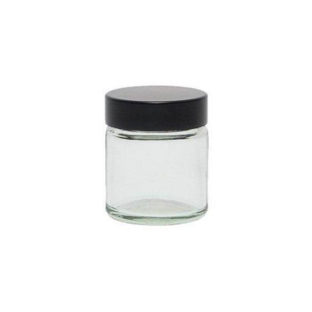 30 ml. klar glas krukke m. sort låg