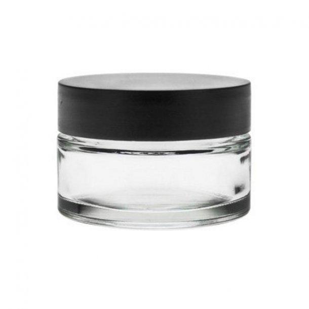 50 ml. klar glas bøtte m. sort låg