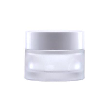Image of   50 ml. glas creme bøtte med hvidt låg