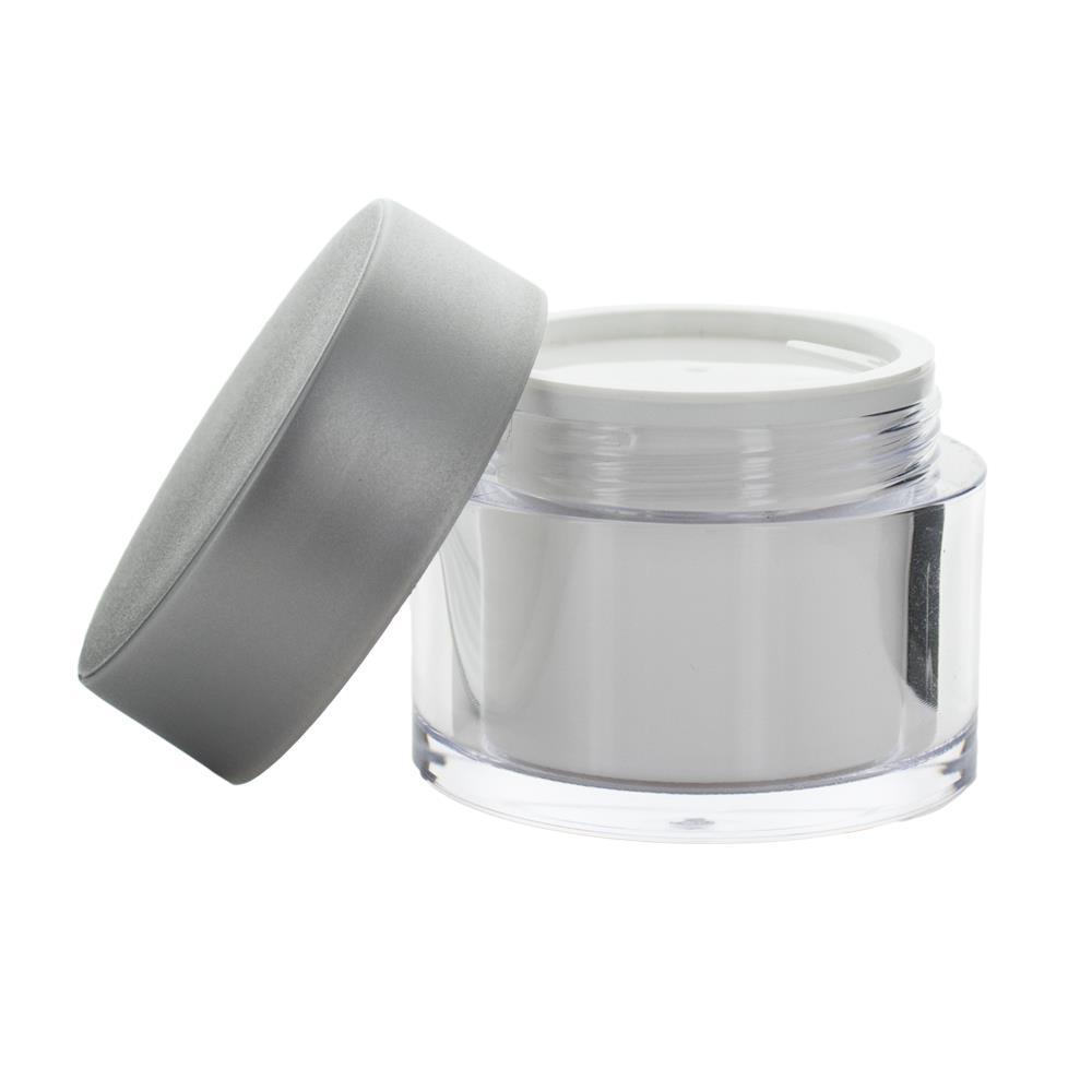 Image of 50 ml. creme bøtte med mat sølv låg i plast