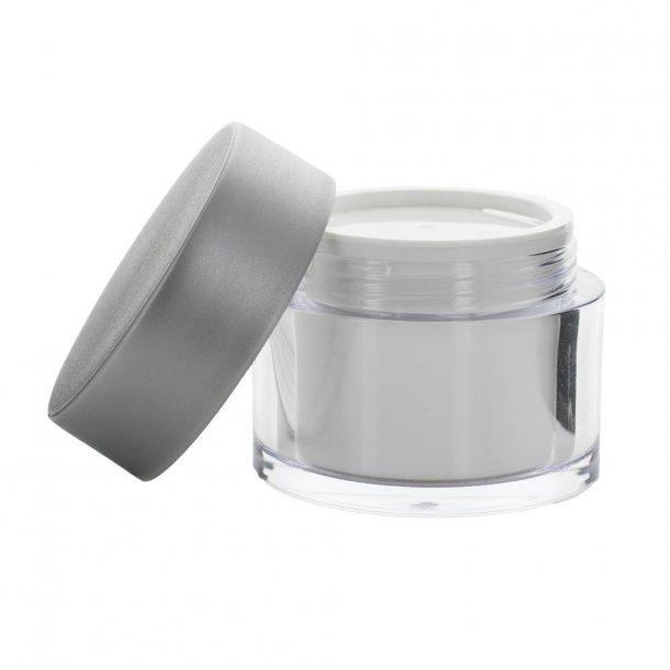50 ml. creme bøtte med mat sølv låg i plast