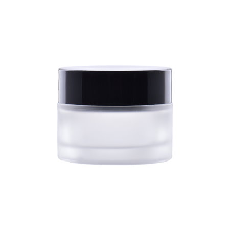Image of   50 ml. glas creme bøtte med sort låg