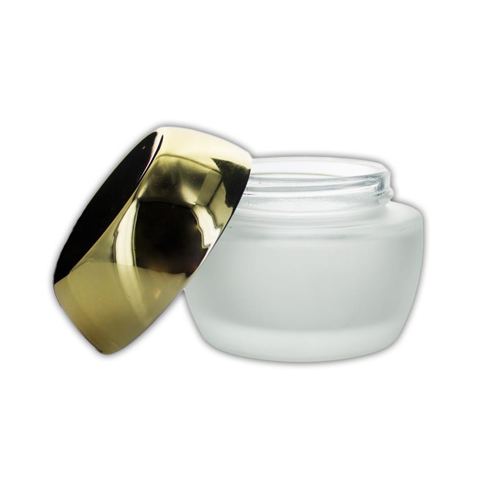 50 ml. glas creme bøtte m. guld låg