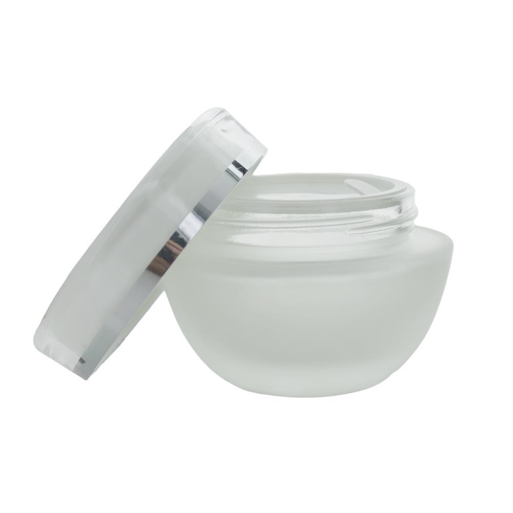 50 ml. glas creme bøtte m. klar låg og sølvkant