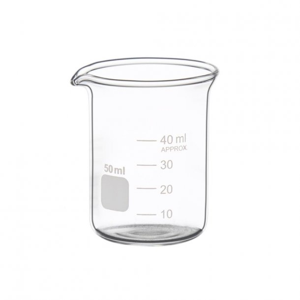 Ildfast målebæger i glas 50 ml.
