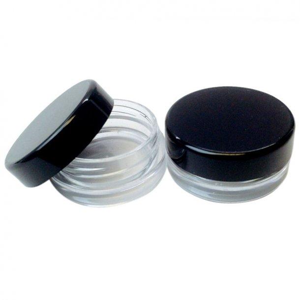 5 ml Rund beholder med klar eller farvet låg Sort låg