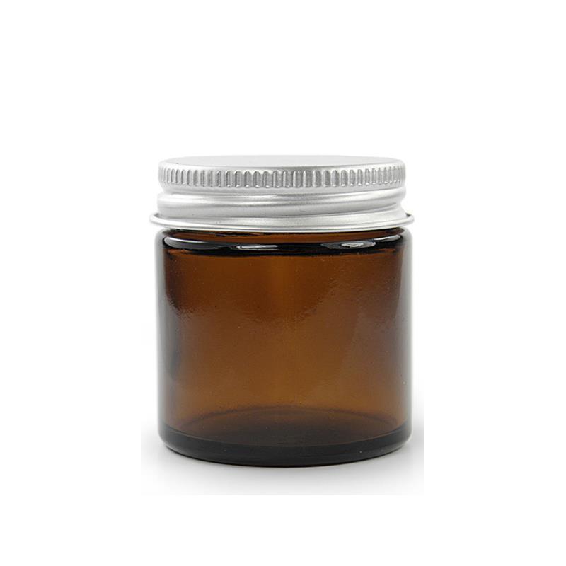 60 ml. brun glas krukke m aluminium låg