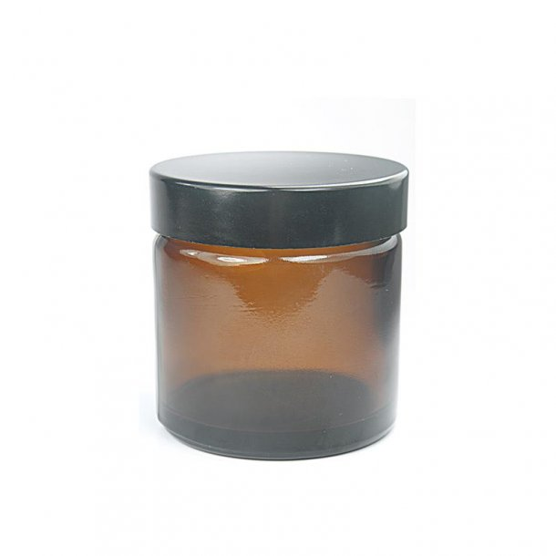 60 ml. brun glas bøtte m. sort låg