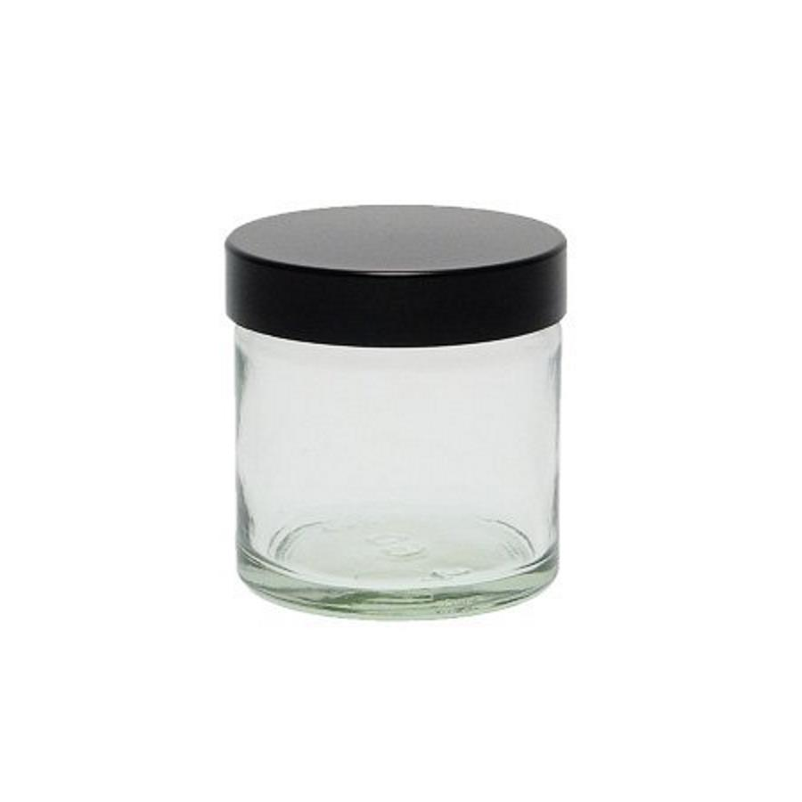 Image of   60 ml. klar glas bøtte m. sort låg