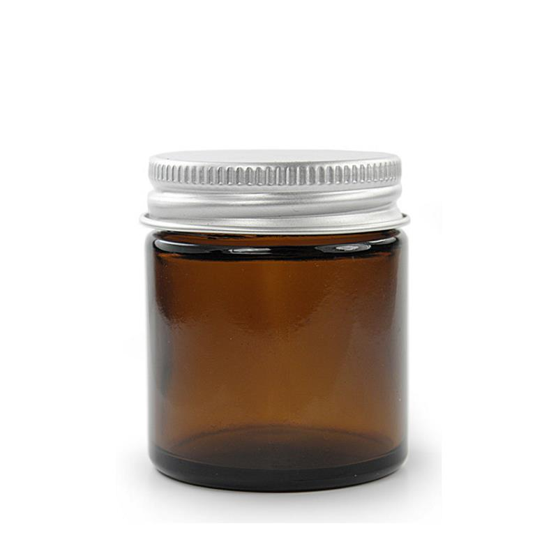 30 ml. brun glas krukke m aluminium låg