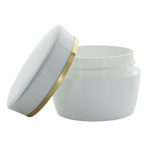 50 ml. creme bøtte hvid m. guld kant