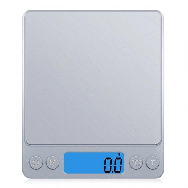Digital vægt - sølvfarvet 3 kg. 1 decimal