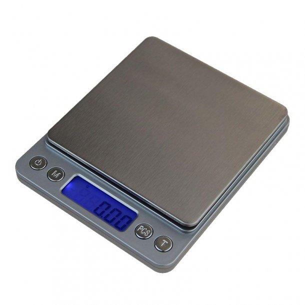 Digital vægt - sølvfarvet 500 g., 2 decimaler