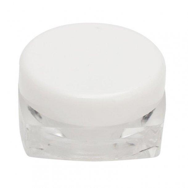 Firkantet beholder m. hvid rundt låg 3 ml.