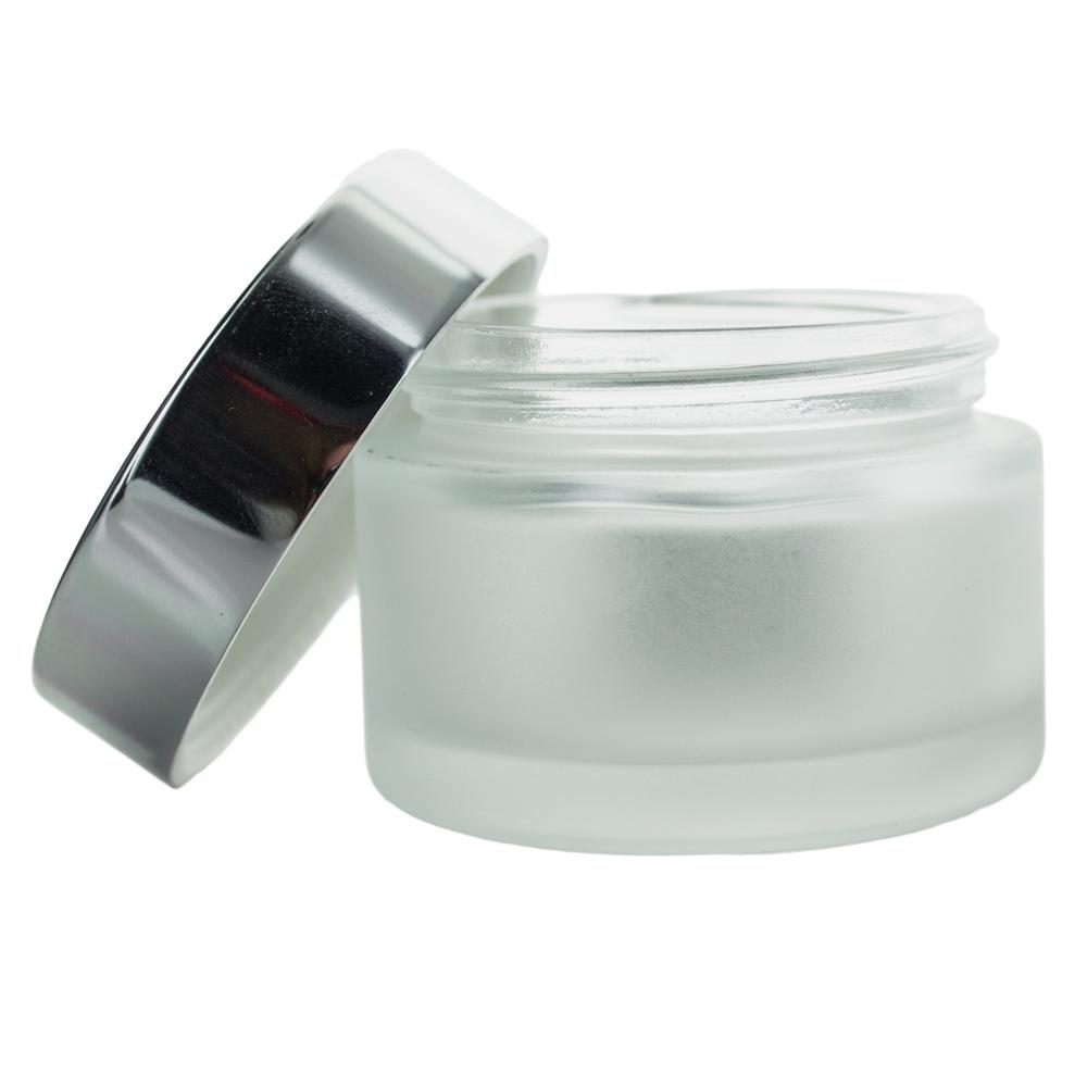 30 ml. glas creme bøtte med sølvfarvet låg