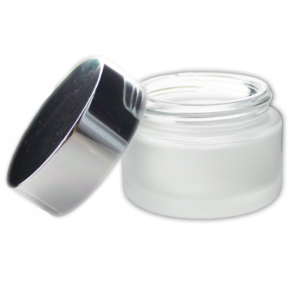 Image of 50 ml. glas creme bøtte med sølvfarvet låg