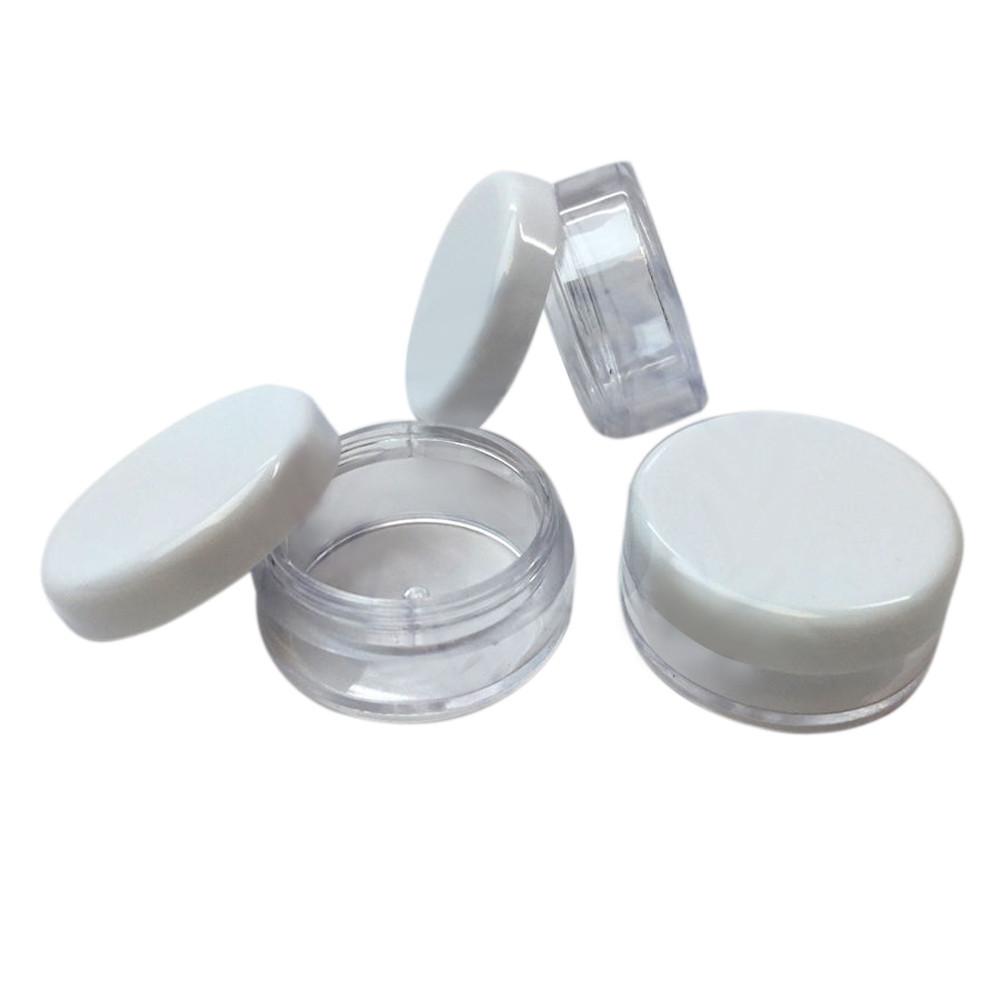 Image of   3 ml Rund beholder med farvet eller klar låg Hvidt låg