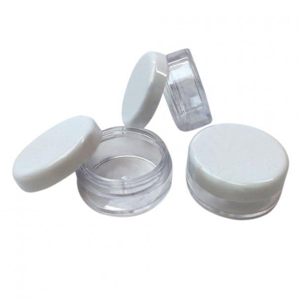 5 ml Rund beholder med klar eller farvet låg Hvidt låg