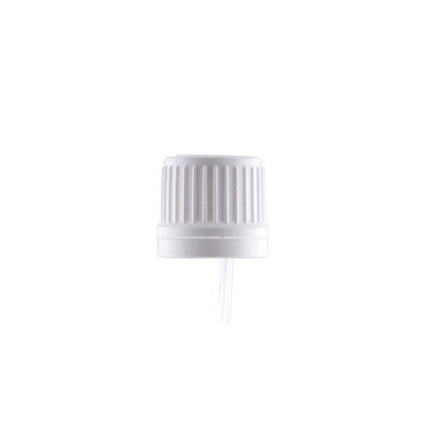Hvidt låg med lille dryp hætte og originalitet ring - DIN 18