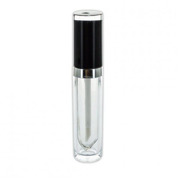 Lip Gloss hylster 7,5 ml. sort og sølv
