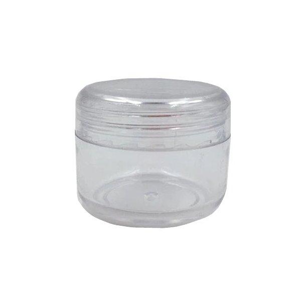 25 ml. rund bøtte - gennemsigtig